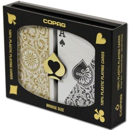 Picture of DuoPack Copag 100% plastic - Gold & Black - Bridge - Regular index
