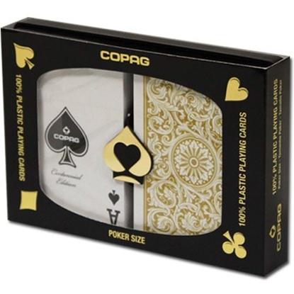 Image de DuoPack Copag 100% plastic - Or & Noir - Poker - Index régulier