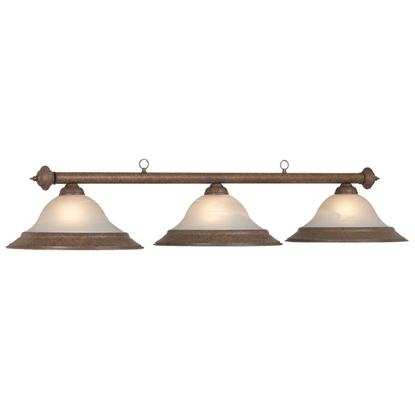 Picture of 61074- Alabaster Glass 3 Light Billiard Fixture with Old Brown