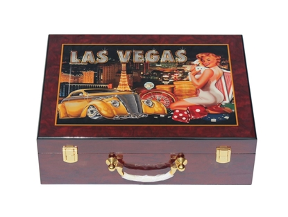 Picture of 13202-Wooden Poker chips case LAS VEGAS (cap 500pcs)