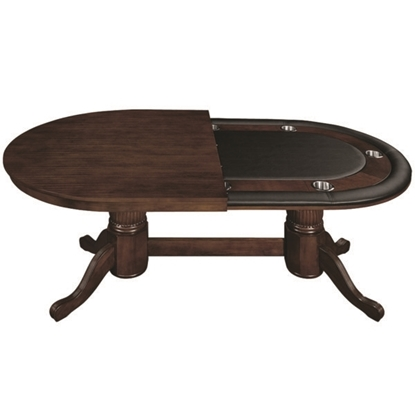 "Picture of GTBL84 WT CAP | 84"" TEXAS HOLD'EM GAME TABLE WITH DINING TOP- CAPPUCCINO"
