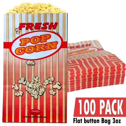 Picture of 70052-100 Pack of 100 Popcorn bag 3oz / Flag bottom
